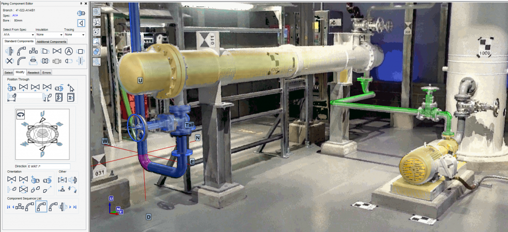 Partial back-modelling of piping and equipment inside the BubbleView environment