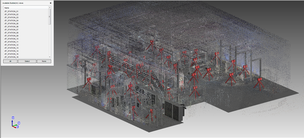 Consolidated laser scan point cloud imported into PDMS